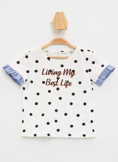 DeFacto Kız Bebek Puantiyeli Fırfır Detaylı T-shirt Ekru